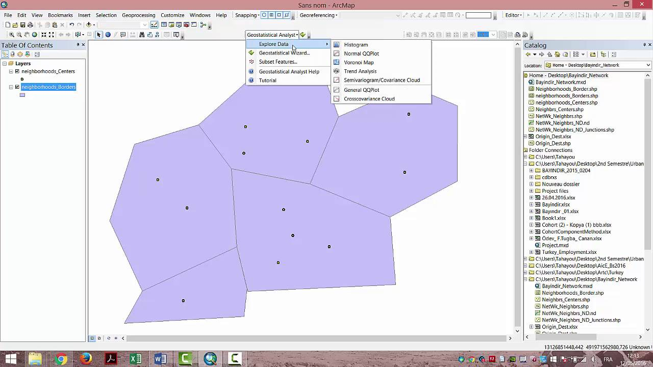 hight resolution of using voronoi map for the distribution of land utilities over land users with arcgis