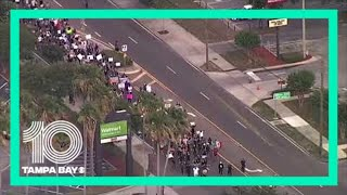 People protest George Floyd's death in Tampa, Florida
