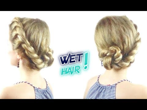 cute styles for wet hair hairstyle for hair easy rope bun updo awesome 3427 | hqdefault