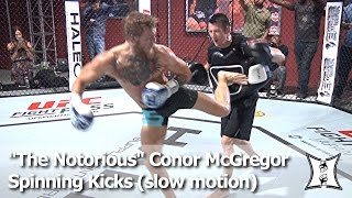 """UFC's """"The Notorious"""" Conor McGregor: Rib Breaking Spinning Kicks in Slow Motion"""