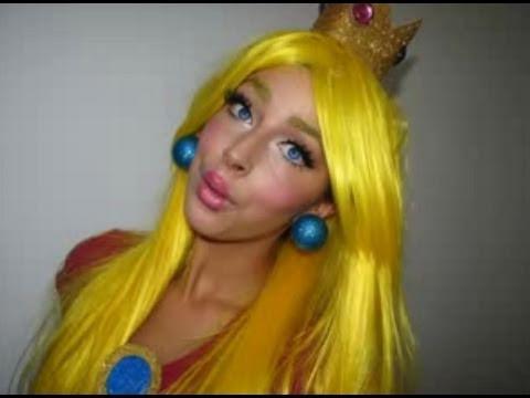 Princess Peach Mario Halloween Makeup - YouTube