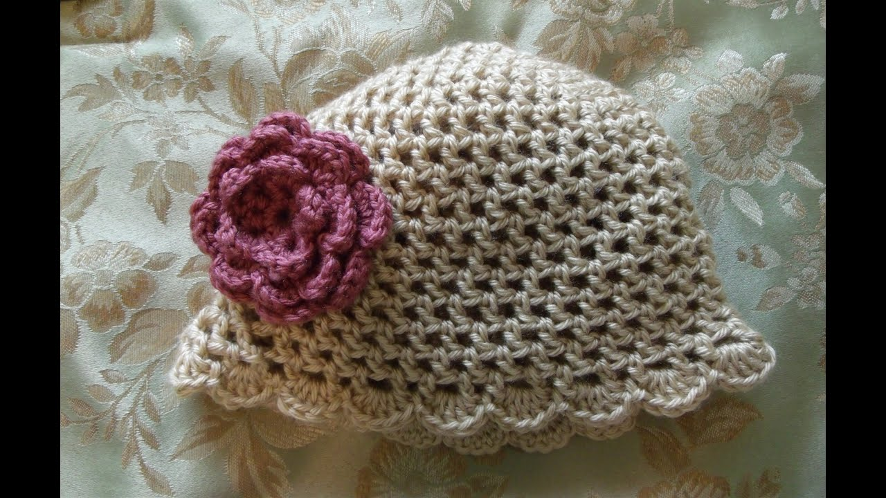 Free Knitting Pattern For Scalloped Edge : How to crochet a hat or beanie with a shell, scallop edge - YouTube
