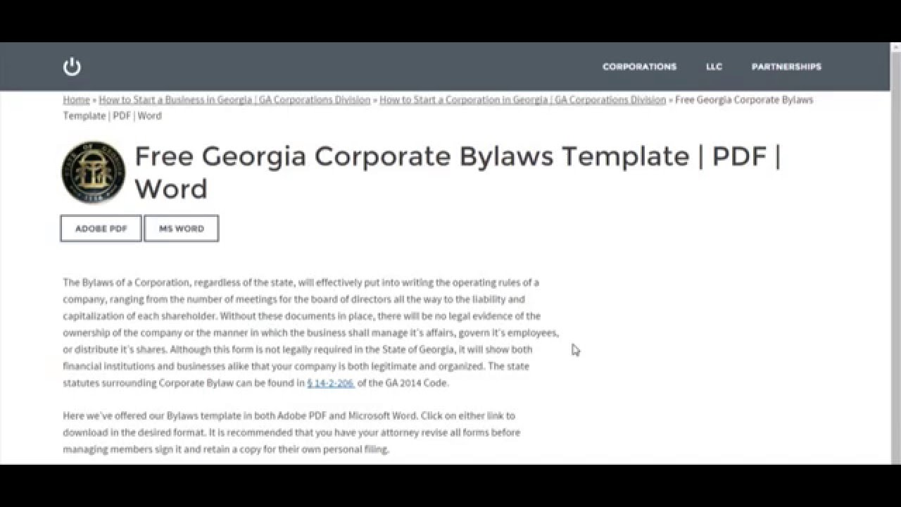 Free Georgia Corporate Bylaws Template Pdf Word Youtube
