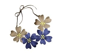 How to make a leather flowers maxi necklace - #89