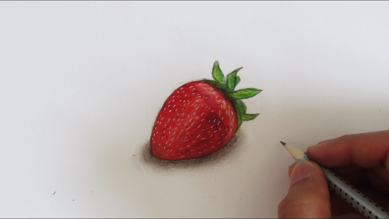 Uncategorized Drawing Of Strawberry realistic strawberry speed drawing youtube