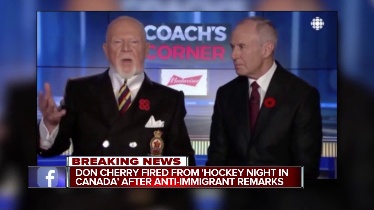 Don Cherry Fired From Sportsnet Hockey Night In Canada Youtube