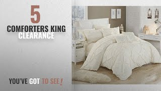 Top 10 Comforters King Clearance [2018]: Chic Home 10 Piece Hannah Pinch Pleated, ruffled and