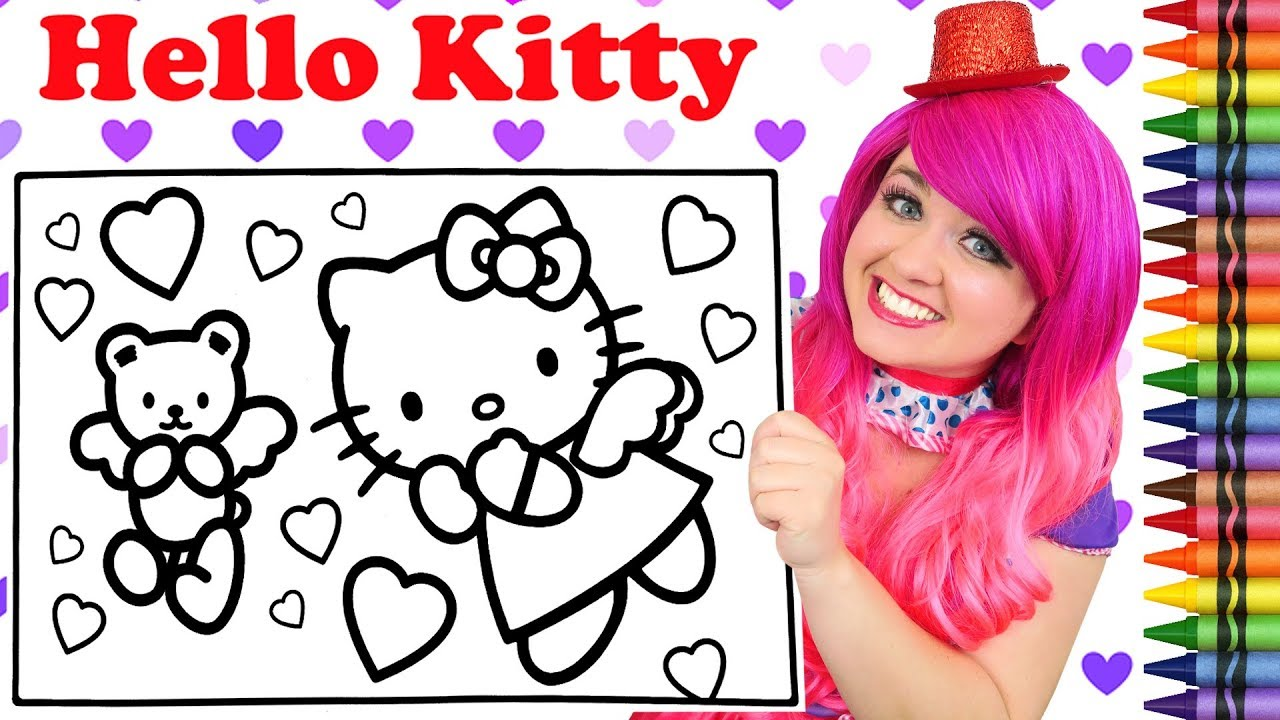 Coloring Hello Kitty Valentine's Day GIANT Coloring Book Page ...
