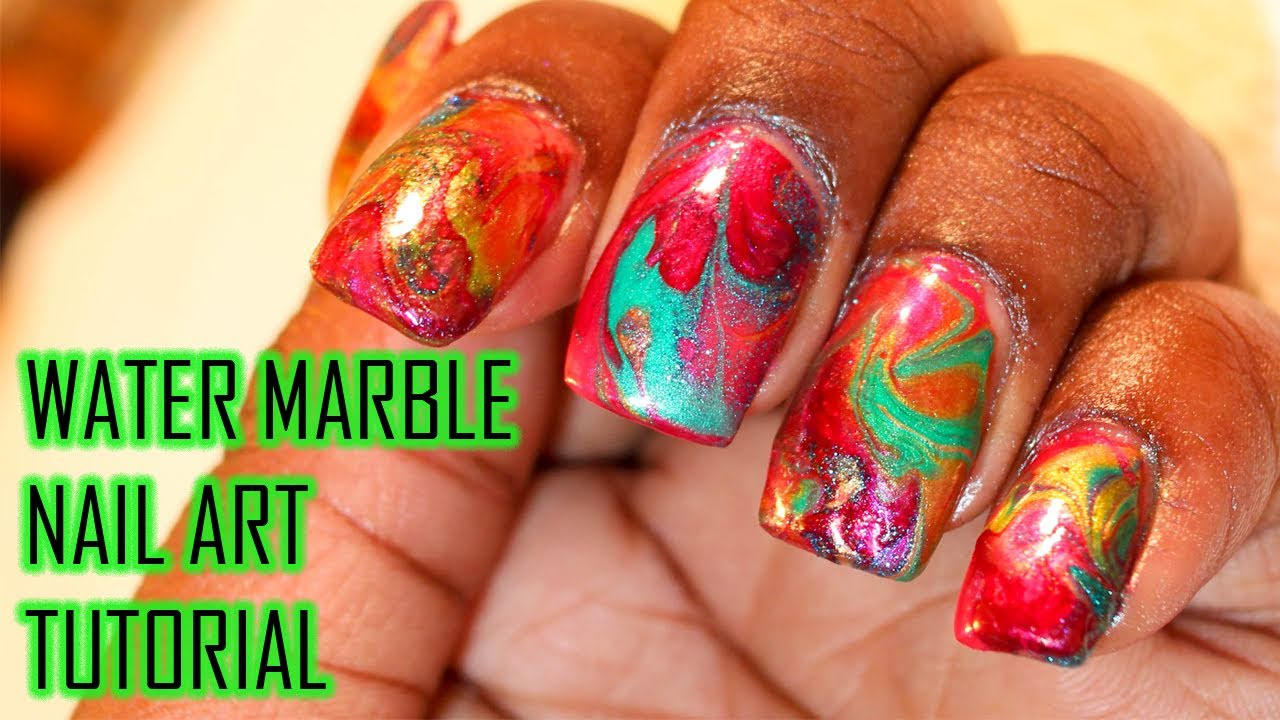 Water Marble Nail Art Tutorial Youtube