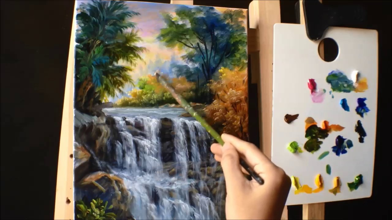 How to paint waterfall with acrylics lesson 3 part 2 for How to paint with acrylic colors
