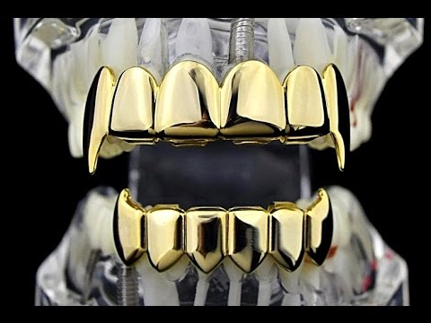 14k Gold Plated Fangs Top Amp Bottom Vampire Grillz Youtube