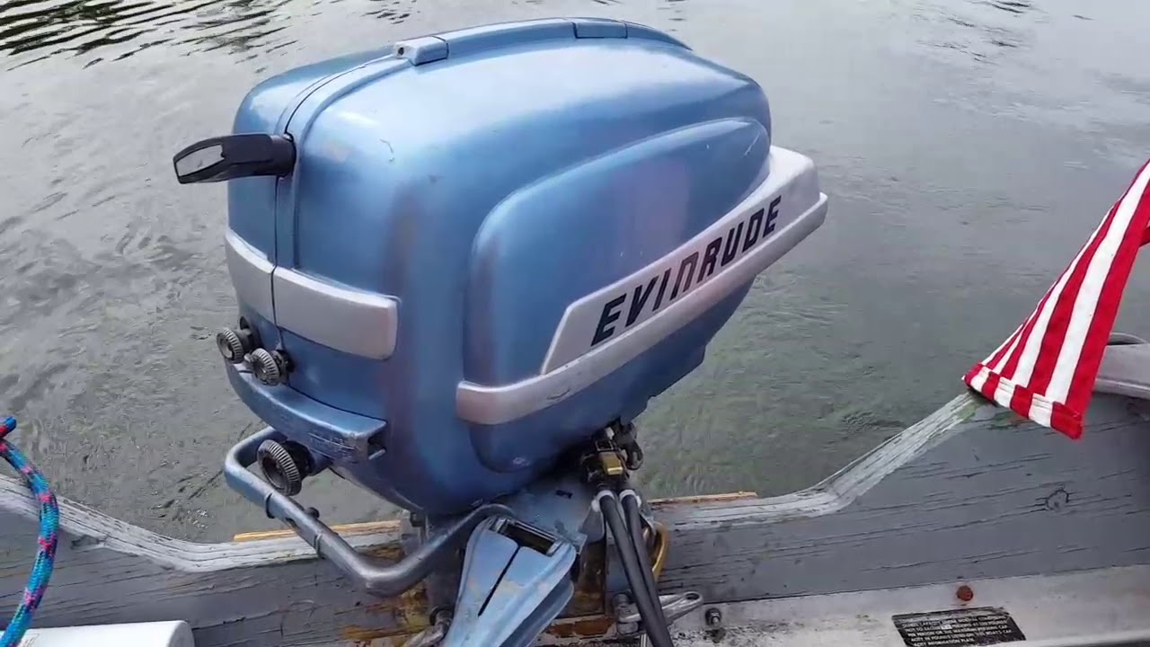 1954 evinrude super fastwin 15hp outboard motor michigan amc 332 prop manistee lake [ 1280 x 720 Pixel ]