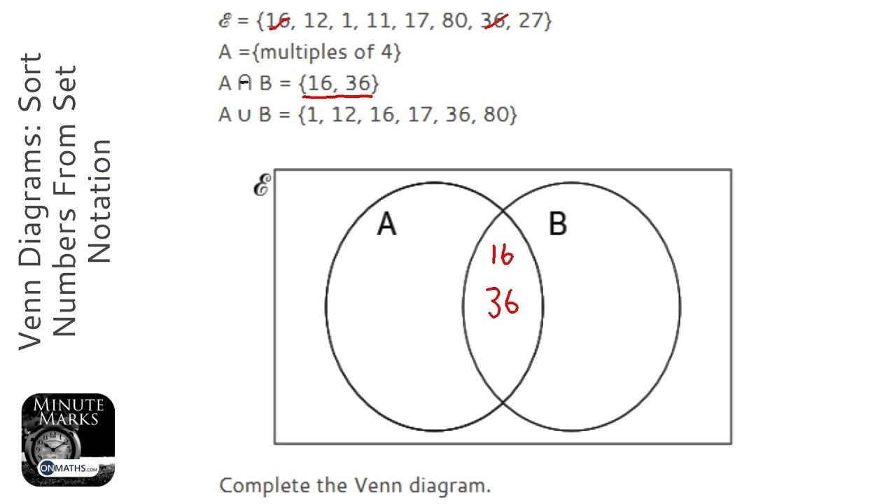 venn diagrams  sort numbers from set notation  grade 5