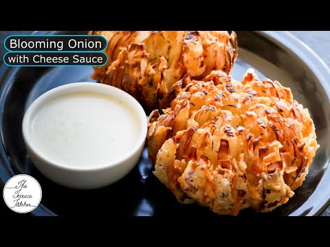 Blooming Onion/Pyaz & Cheese Sauce Recipe | Onion Fritters Recipe ~ The Terrace Kitchen