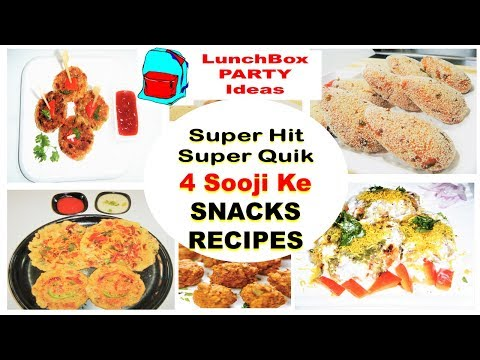4 Easy Quick Breakfast Lunchbox Party Snacks-Easy Sooji Snacks-Party Snack Ideas-Kids LunchBox Ideas