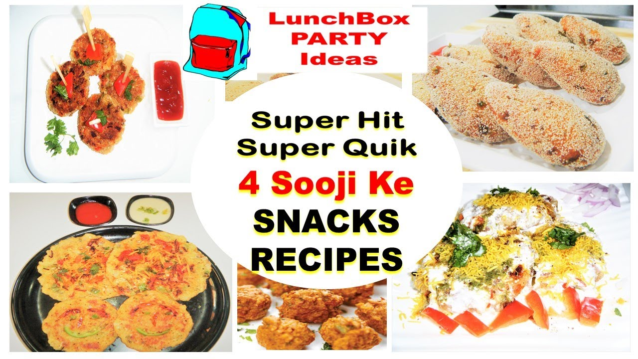 4 Easy Quick Breakfast Lunchbox Party Snacks Sooji Snack Ideas Kids LunchBox