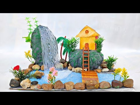 Mountain waterfall with house and stairs || Showpiece for home decoration craft.