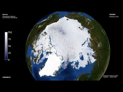 Sea ice in global FESOM2 setup with 1km resolution Arctic Ocean