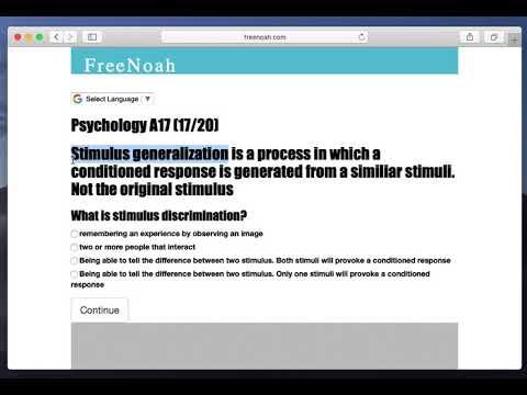 Psychology A17 (16/20) Stimulus generalization - YouTube