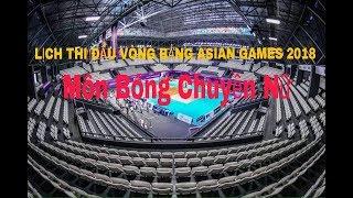 LỊCH THI ĐẤU VÒNG BẢNG ASIAN GAMES 2018 MÔN BÓNG CHUYỀN NỮ