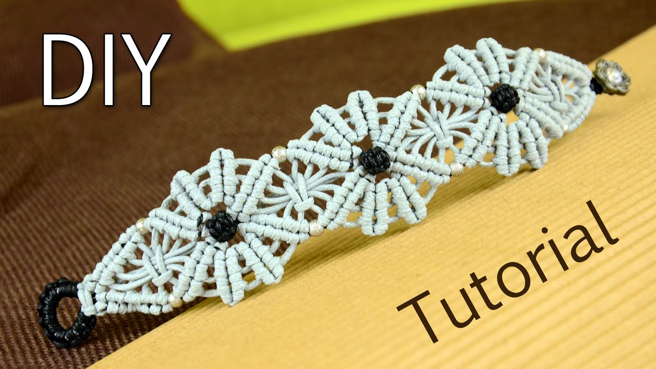 Macram 233 Flower Bracelet Tutorial Youtube