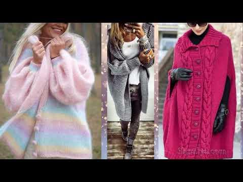 Модное пальто вязаное спицами