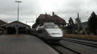 Gare de Vallorbe : départ du TGV Lyria Lausanne paris