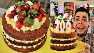 BOLO NAKED CAKE DE BRIGADEIRO BRANCO TRUFADO COM FRUTAS