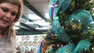 Decorating a Peacock Christmas Tree at Shirley's of Collins
