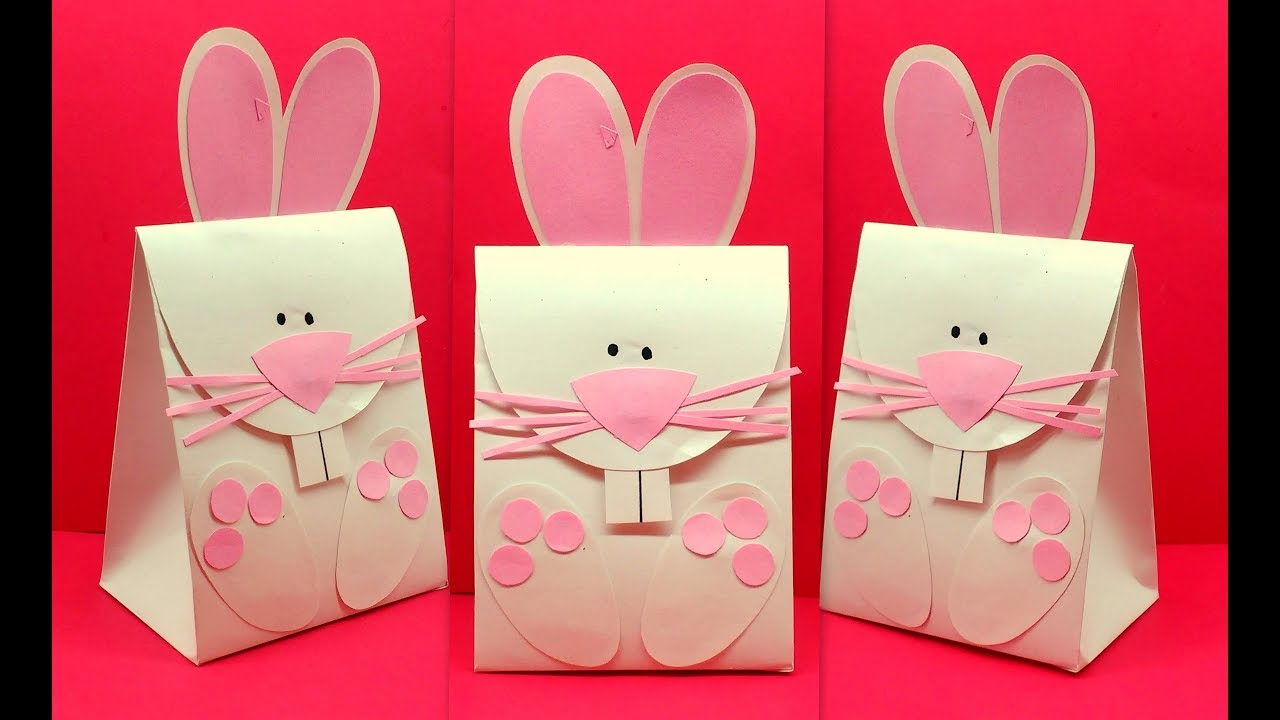 Diy How to make Easter Bunny Rabbit Gift Paper Bag - YouTube 31a074c6bae5a