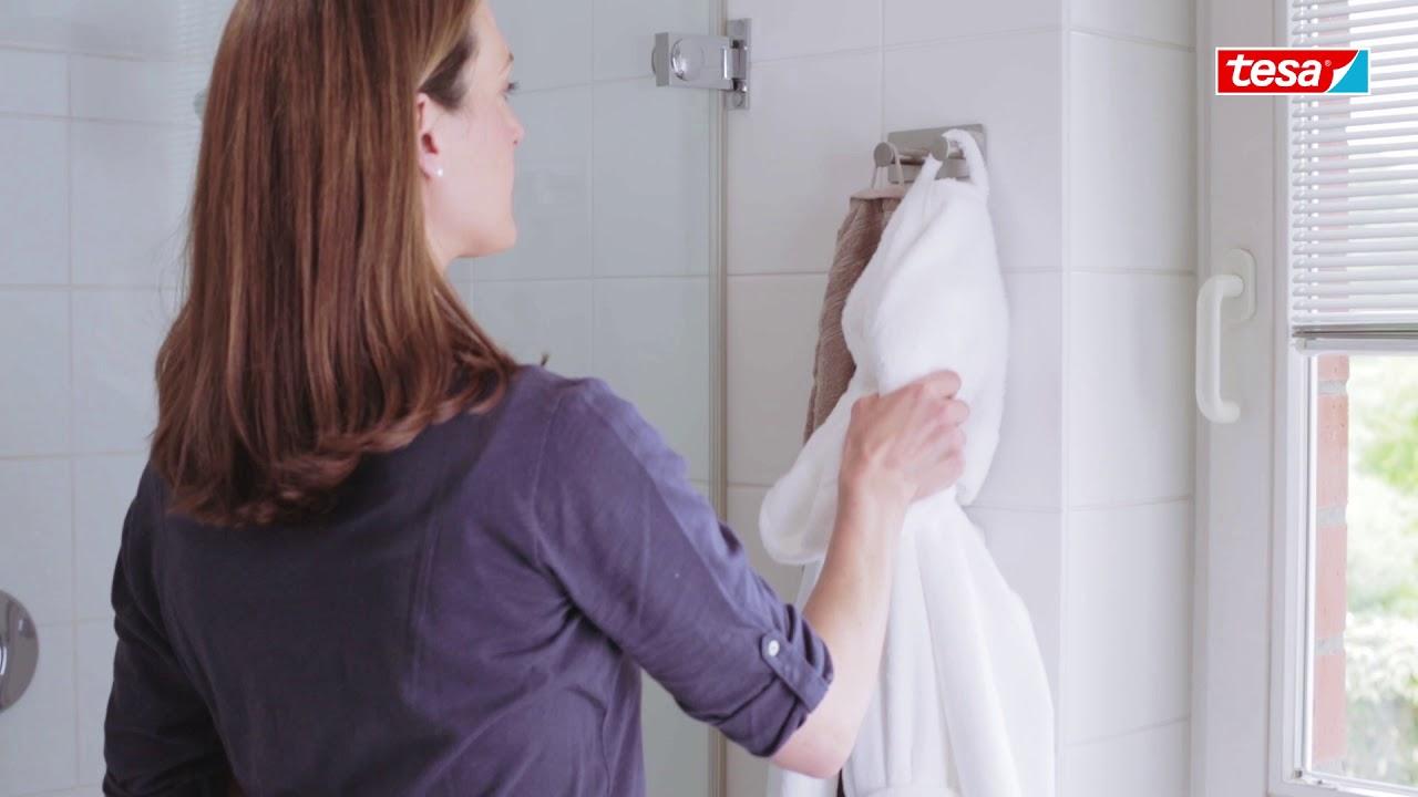 Tesa Powerbutton Classic Double Towel Hooks Bathroom Hooks Robe Hooks Self Adhesive Youtube