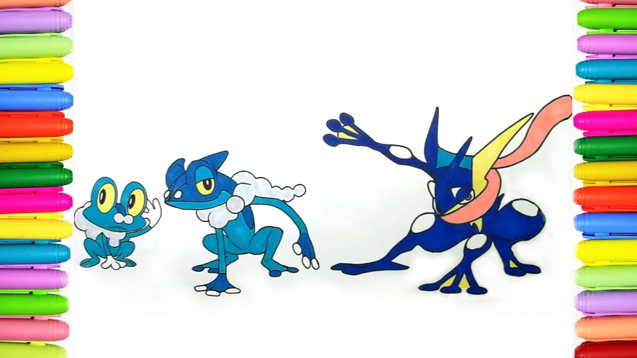 Pokemon Coloring Pages For Kids Froakie Frogadier And Greninja