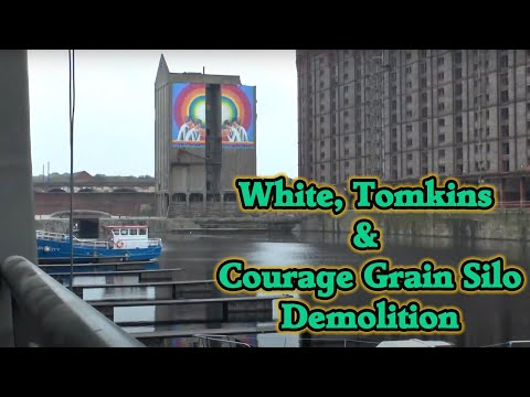 White Tomkins & Courage Grain Silo, Liverpool.  Partial Demoliton Sept 2017