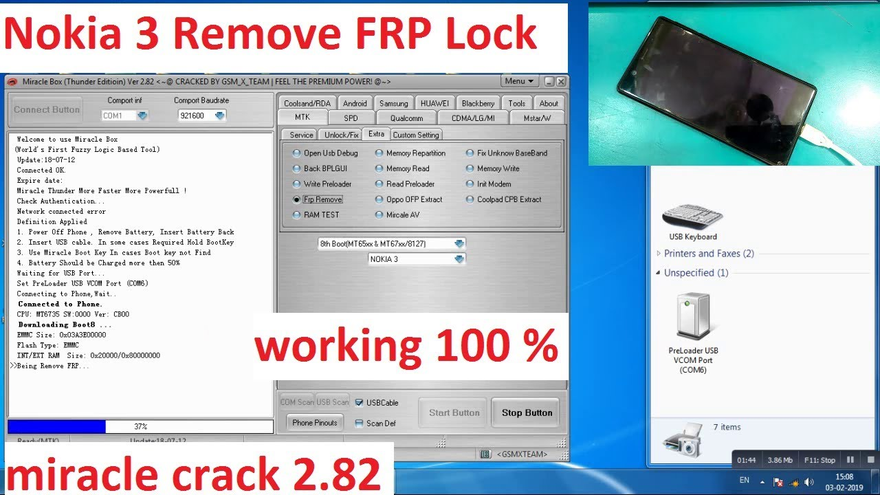 Nokia 3 FRP Lock Reset By Miracle Box Crack 2 82 | 100% Working