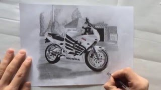 видео Мотоциклист рисунок