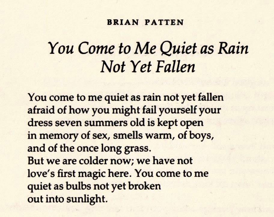 Quiet as Rain - from a poem by Brian Patten(1969) - YouTube