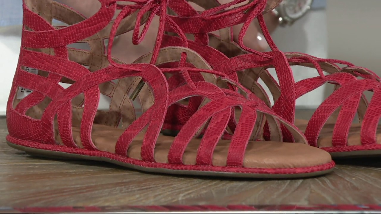 68d5d91e691f Gentle Souls Leather Lace-up Sandals - Break My Heart on QVC - YouTube