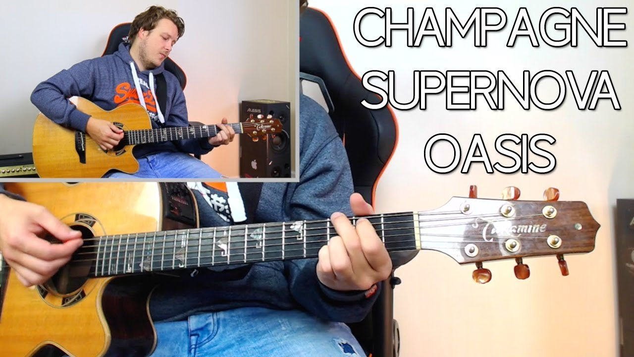 HOW TO PLAY CHAMPAGNE SUPERNOVA BY OASIS 🎸 GUITAR LESSONS BEGINNER CHORDS  AND STRUMMING PATTERNS
