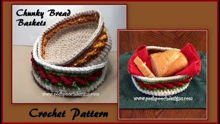 or rolls flat bread Crocheted 6 covered basket for tortillas