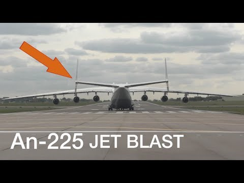 Mighty An-225 Jet Blast nearly blows me away ! Heavy Takeoff and Shaking tail wings