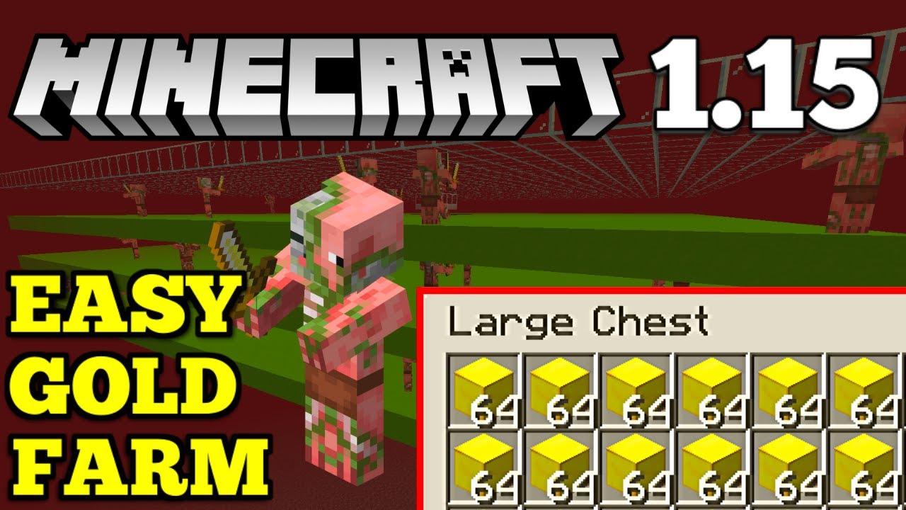 Easy Gold Farm Minecraft 1 15 How To Make A Minecraft Gold Farm Youtube