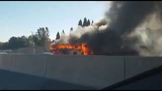 Bus engulfed in flames on the N1 near William Nicol in Joburg - Fourways Review