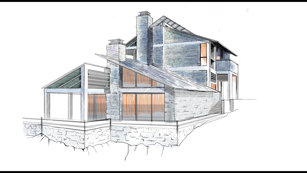 Architecture Drawing Ipad architectural rendering in sketchbook pro, from start to finish