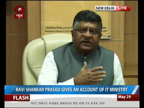 Union Minister Ravi Shankar Prasad briefs achievements of IT Ministry