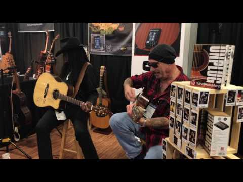 Larry Mitchell and Mike Gallagher at the Tonewoodamp Booth  - NAMM 2017 - Hats Off