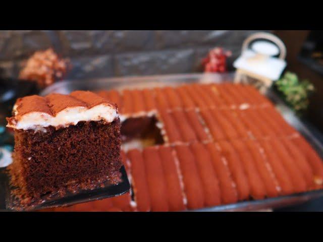 كيكة الشوكولا فخامة بالتقديم وب طريقة التحضير بكريمة منزلية لذيذة وسريعة وبدون استخدم الشانتية 😍