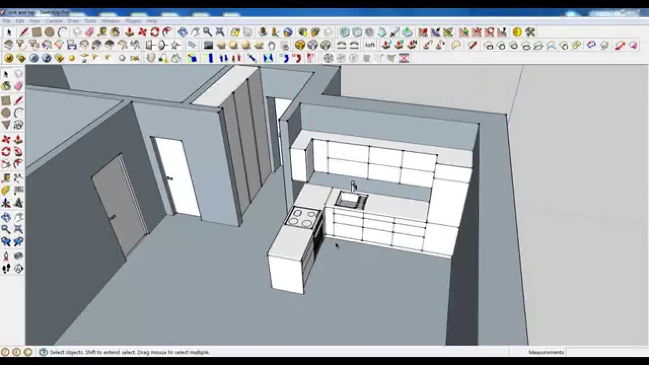 Google sketchup tutorial part 03 kitchen modeling chimney hood and shelf youtube Kitchen design software google sketchup