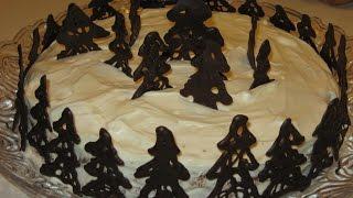 Как сделать украшение для торта из шоколадных елочек
