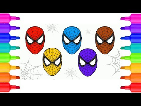 Spider man Mask Coloring Pages| Spider man Homecoming | Learning and ...