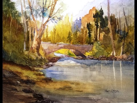 "Paint Along with Larry Hamilton - July 30, 2014 - Watercolor ""Stream and Bridge"""